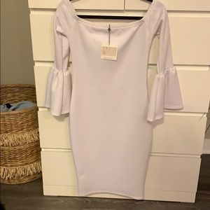 Misguided white fitted dress